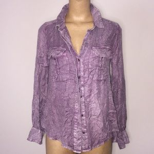 Free People Waffle Hi Lo Flowy Button Up Size M